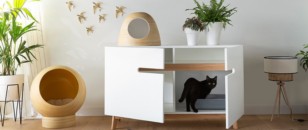 Meuble litière pour chat buffet blanc et bois clair O