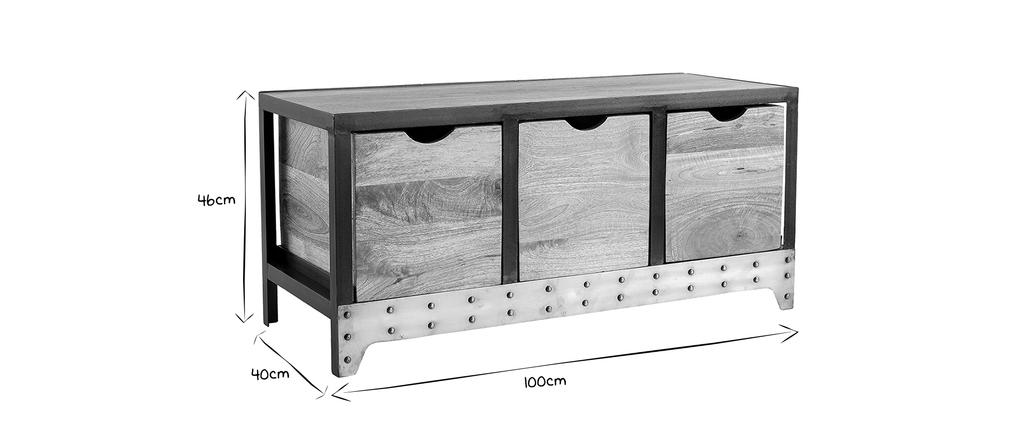 meuble rangement chaussures industriel bois massif et metal atelier