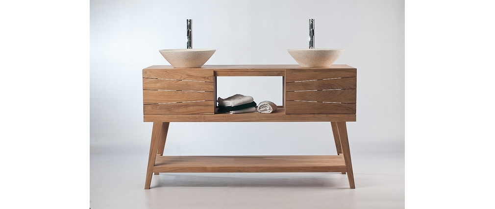 Meuble salle de bain meuble sous vasque teck et 2 for Vasque et meuble