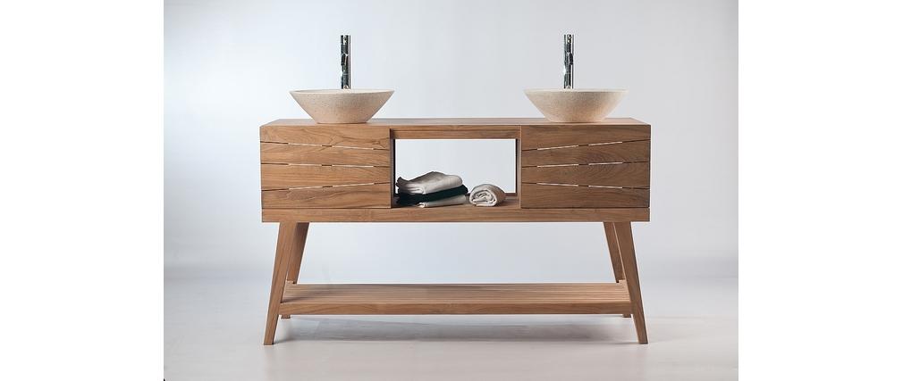 Meuble salle de bain meuble sous vasque teck et 2 for Meuble de salle de bain sous vasque