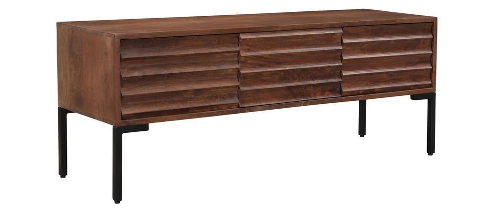 Meuble TV 3 portes en manguier massif et métal ONDA