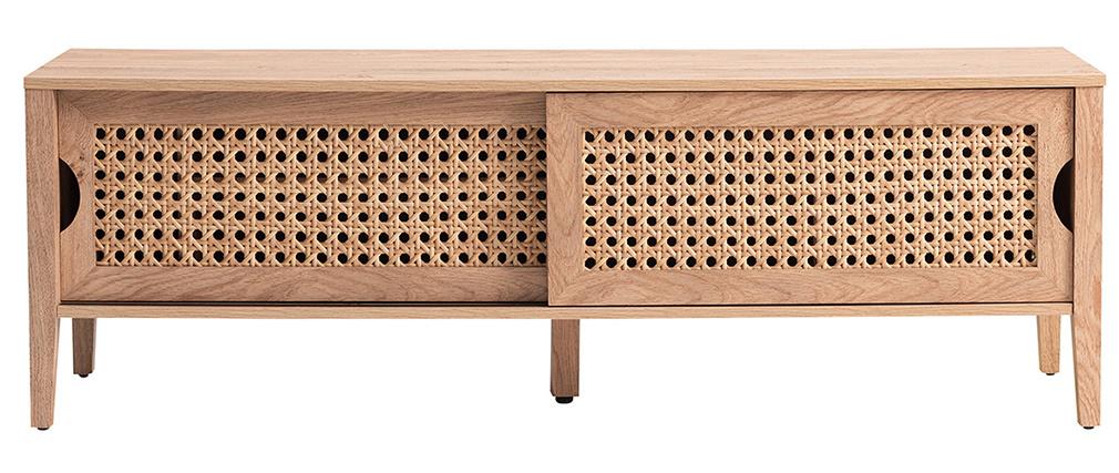 Meuble TV avec portes coulissantes bois et rotin synthétique PACHO