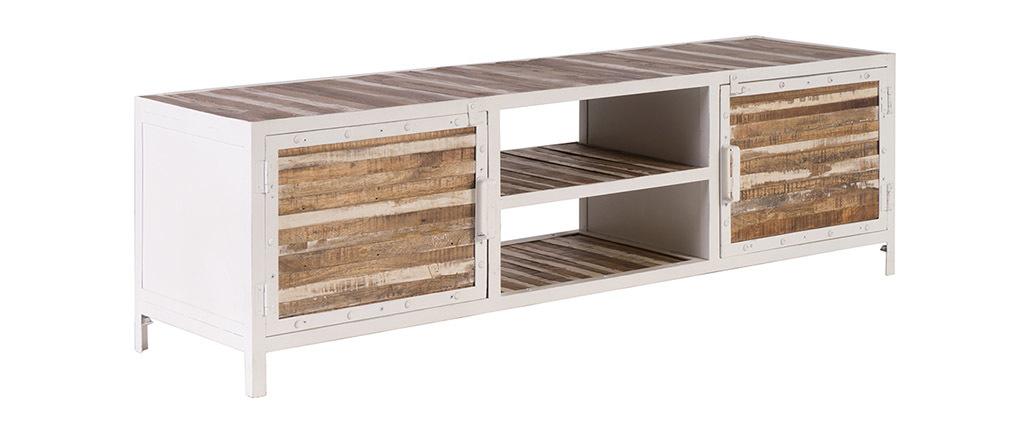 Meuble tv bois et m tal blanc 150cm rochelle miliboo for Table de television en bois