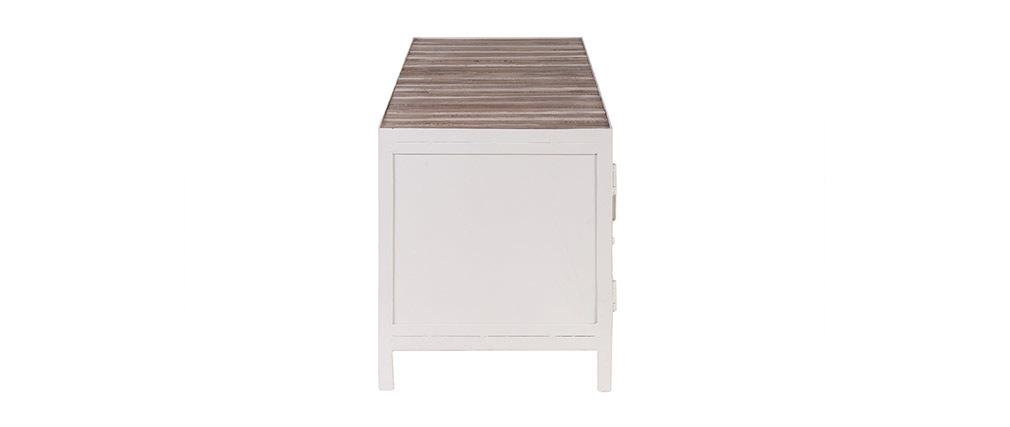 Meuble TV bois et métal blanc 150cm ROCHELLE