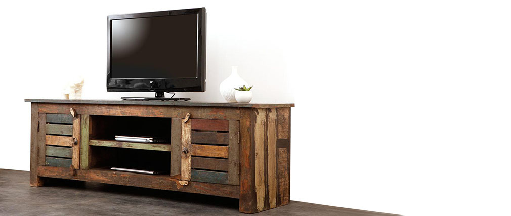 meuble tv bois recycl mayotte miliboo. Black Bedroom Furniture Sets. Home Design Ideas