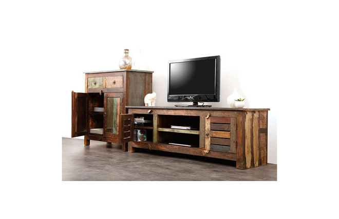 meuble tv bois recycl mayotte dos. Black Bedroom Furniture Sets. Home Design Ideas