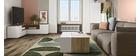 Meuble TV d'angle design blanc mat et bois QUADRA