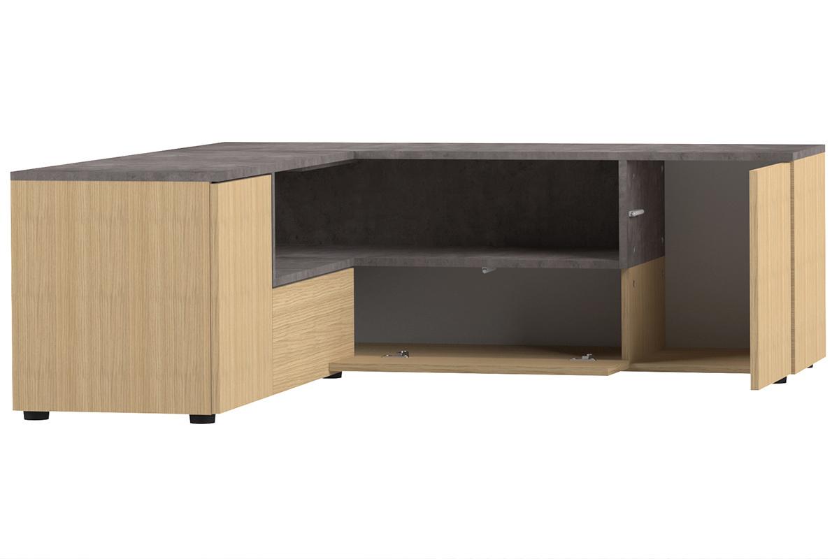 Meuble Tv D Angle Design Bois Et Gris Beton Quadra Miliboo