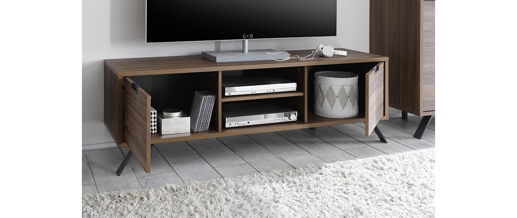 Meuble tv design 156cm noyer origin miliboo - Meuble tv miliboo ...