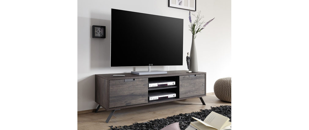 Meuble tv design 156cm weng origin miliboo for Meuble tv wenge