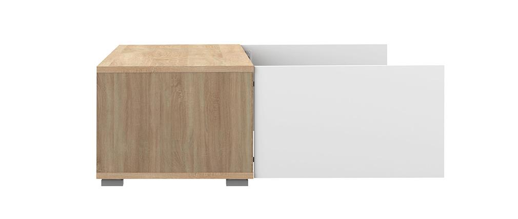 Meuble TV design 2 portes blanc laqué et bois ERRA
