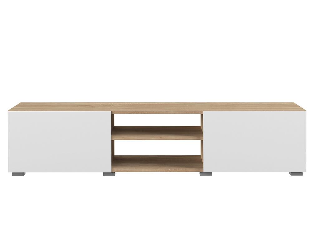 Hauteur Meuble Tele meuble tv design 2 portes blanc laqué et bois erra - miliboo