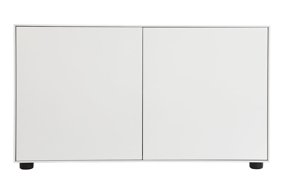 Meuble Tv Hifi Intégré meuble tv design 2 portes blanc mat l90 cm mark - miliboo