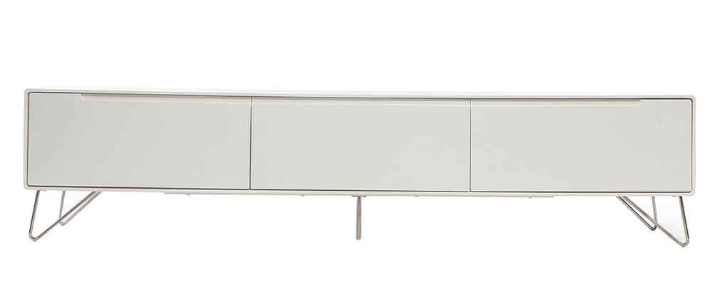 meuble tv design 200cm blanc mat illia miliboo. Black Bedroom Furniture Sets. Home Design Ideas