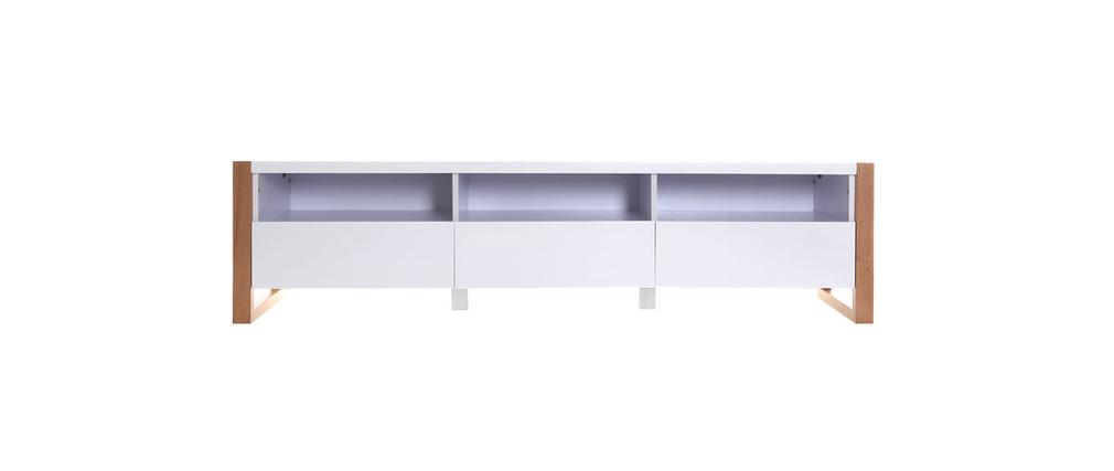 Meuble TV design 3 tiroirs 3 niches blanc mat ARMEL