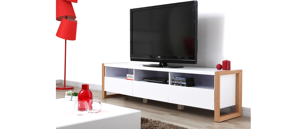 Meuble Tv Blanc Mat But : Meuble Tv Design 3 Tiroirs 3 Niches Blanc Mat Armel , Aspect Technique