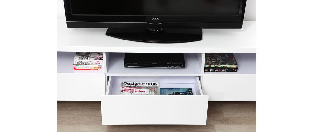 meuble tv design 3 tiroirs 3 niches blanc mat armel miliboo. Black Bedroom Furniture Sets. Home Design Ideas