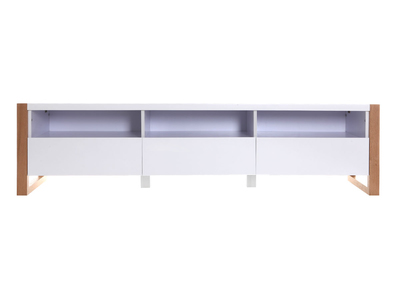 Meuble TV design 3 tiroirs 3 niches blanc mat ARMEL