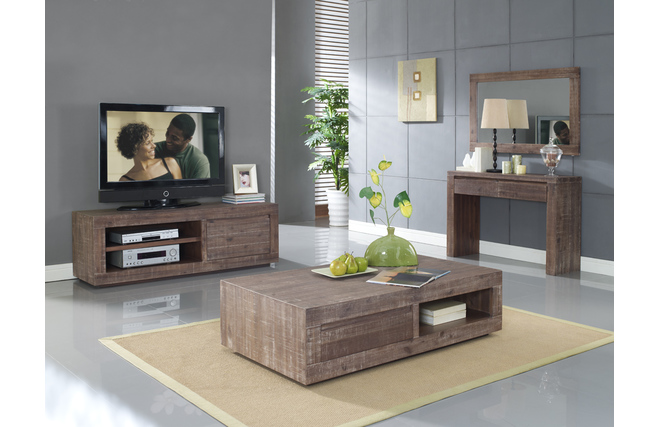 meuble tv design acacia teint gris sauvage miliboo. Black Bedroom Furniture Sets. Home Design Ideas