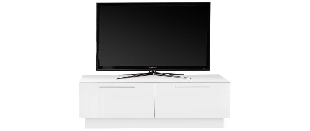 Meuble TV design avec tiroir et rangement blanc brillant L138 cm ETERNEL