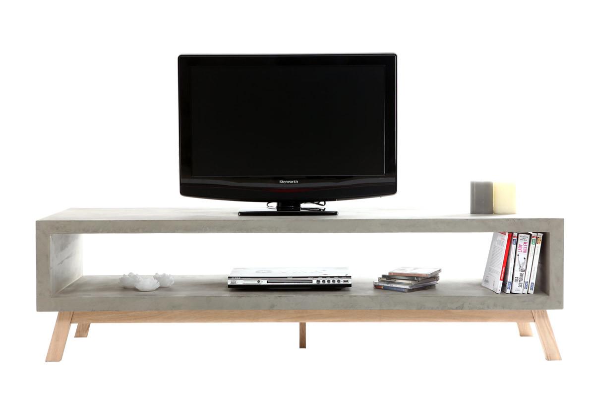 meuble tv design b ton erwin miliboo. Black Bedroom Furniture Sets. Home Design Ideas