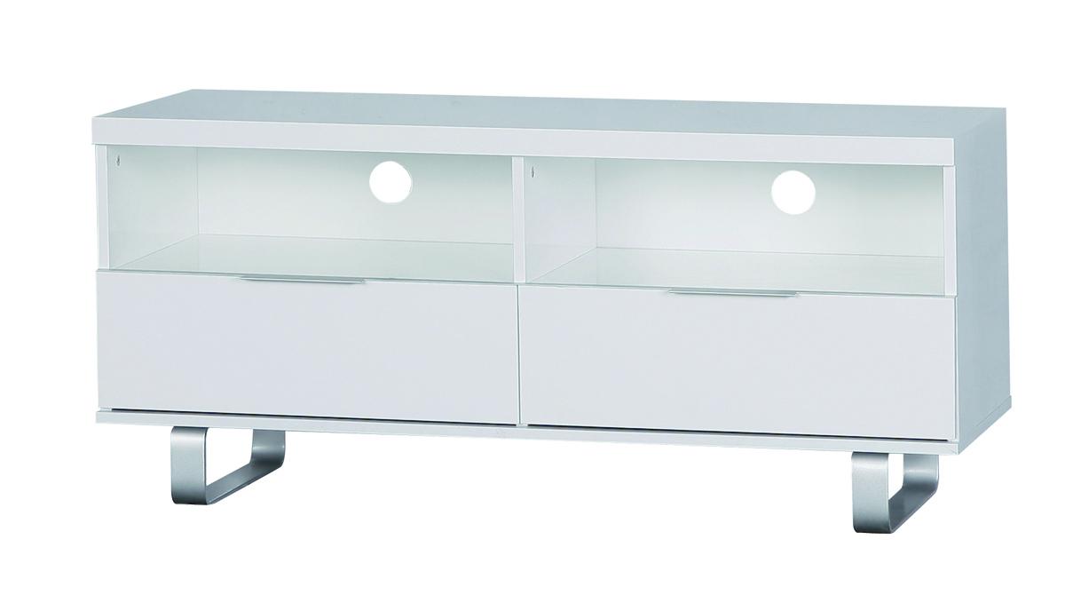 meuble tv design blanc 2 casiers et 2 tiroirs l a miliboo. Black Bedroom Furniture Sets. Home Design Ideas