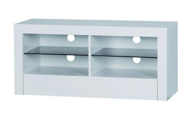 meuble tv design blanc 4 casiers et 1 tiroir gloria miliboo. Black Bedroom Furniture Sets. Home Design Ideas