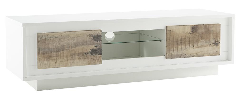 Meuble TV design blanc avec rangements décor bois clair LAND