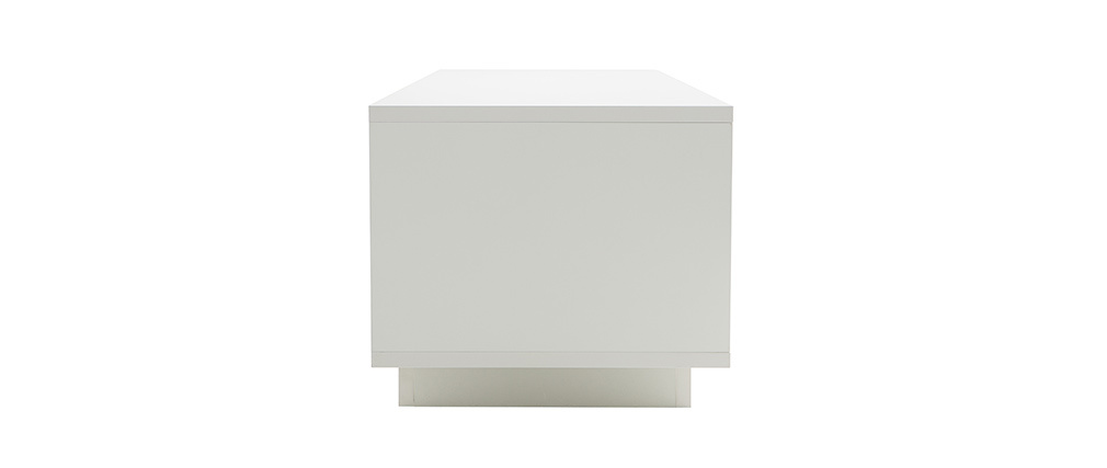 Meuble TV design blanc avec rangements décor ciment LAND