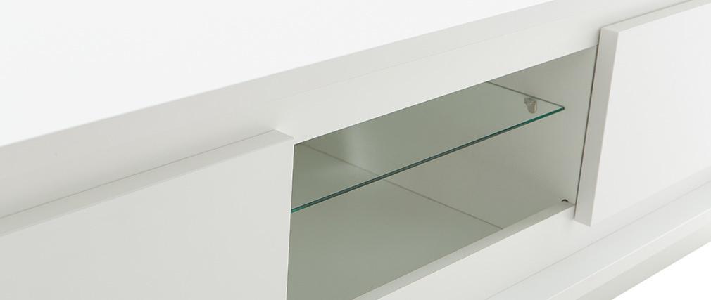 Meuble TV design blanc avec rangements LAND