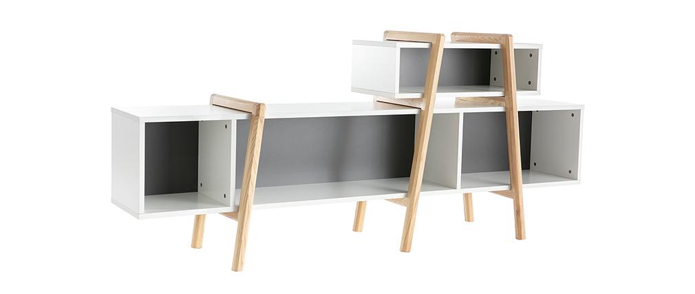 Meuble TV design blanc, gris et bois WOOD TANG