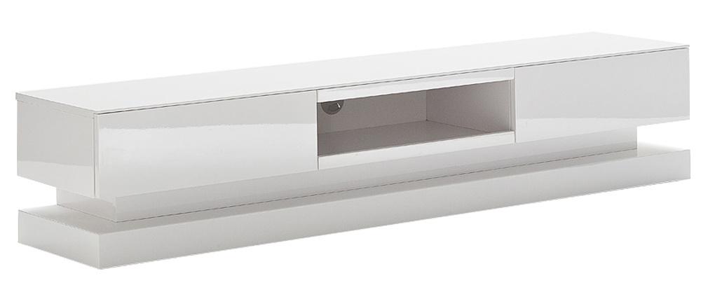 Meuble TV design blanc laqué avec éclairage LED intégré NEO