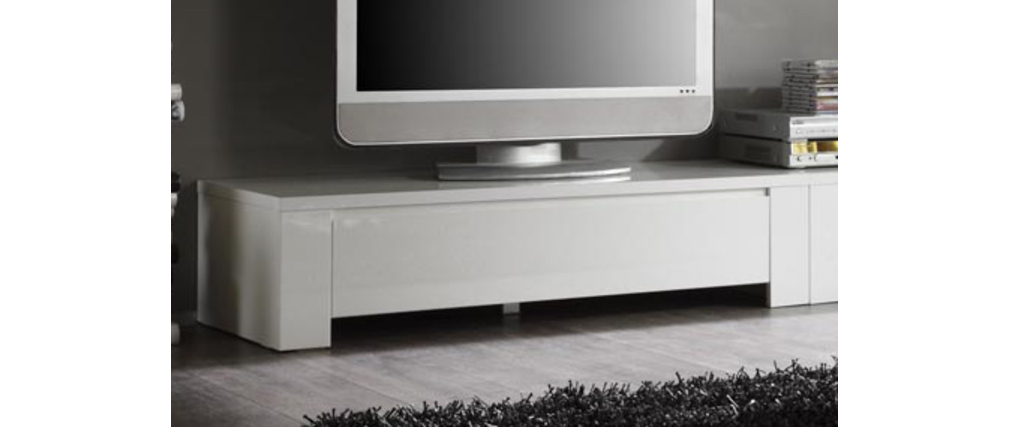 Meuble tv design blanc laqu eria120cm miliboo - Meuble tv marron laque ...