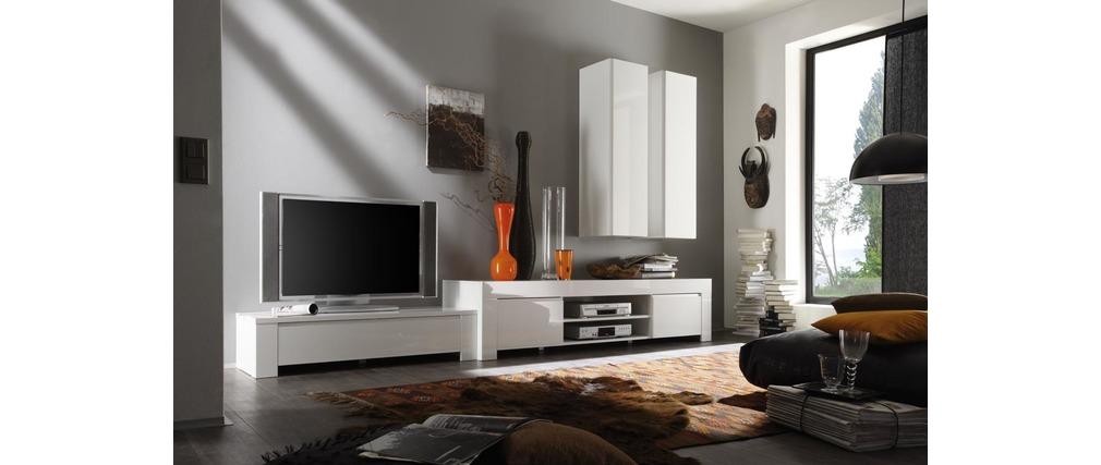 Meuble TV Design blanc laqué ERIA120cm - Miliboo