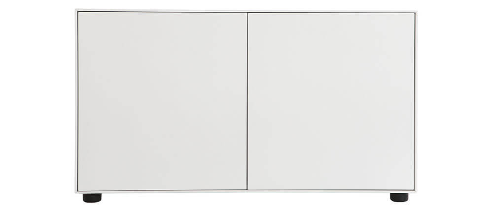 Meuble TV design blanc mat 90x40cm 2 portes MARK