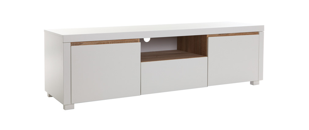 Meuble TV design blanc mat SIGRID - Miliboo
