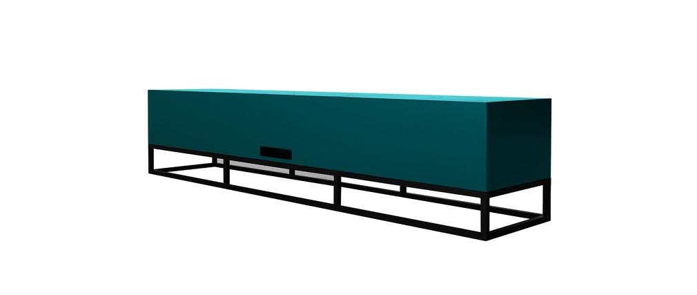 Meuble tv design bleu surface miliboo for Meuble japonais bleu