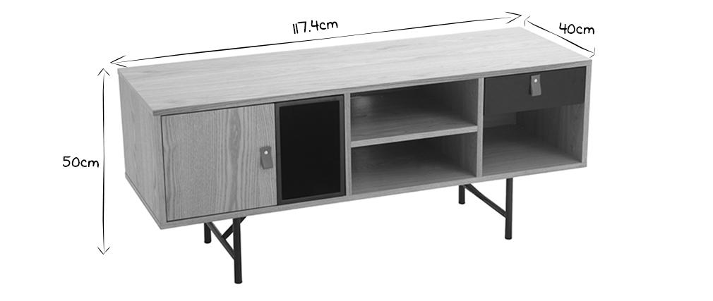 Meuble TV design bois chêne et noir OFICI