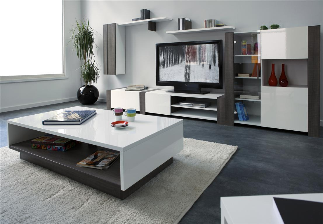 meuble tv design bois et blanc brillant moca miliboo. Black Bedroom Furniture Sets. Home Design Ideas