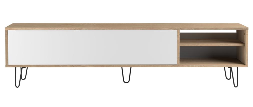 Meuble TV design bois et blanc LUMY