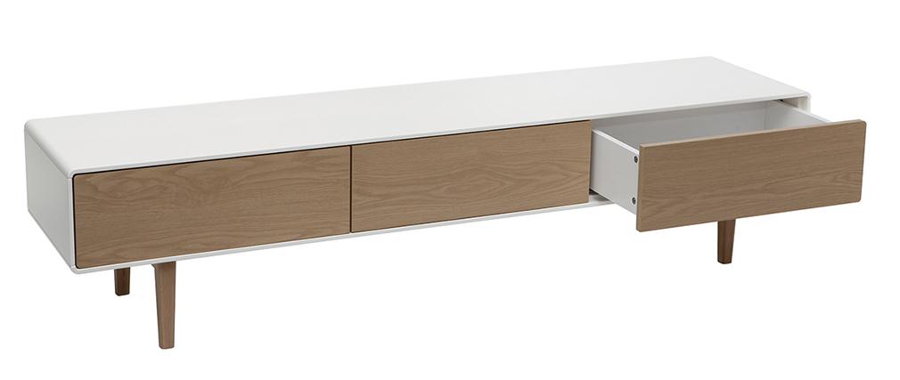 Meuble TV design contemporain blanc et bois ROMY
