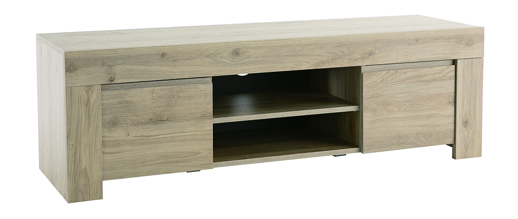 Meuble TV design effet chêne L138 cm TINO