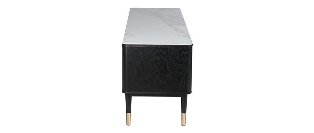 Meuble TV design effet marbre et pieds dorés ALLURE
