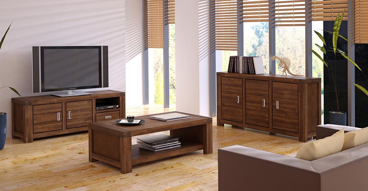Meuble tv design en acacia sixties miliboo - Meuble paiement en 4 fois ...