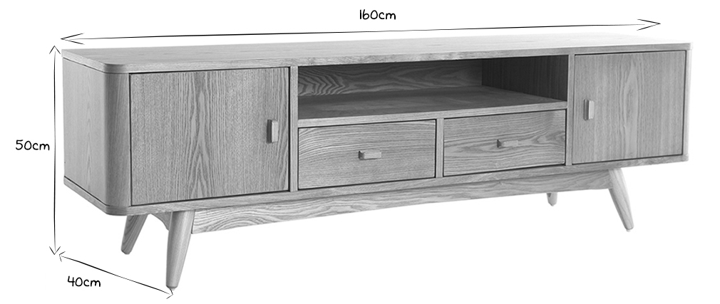 Meuble TV design frêne 160cm NORDECO