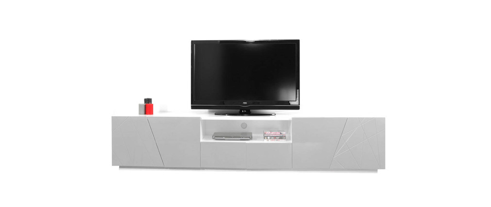 meuble tv design gris alessia miliboo. Black Bedroom Furniture Sets. Home Design Ideas