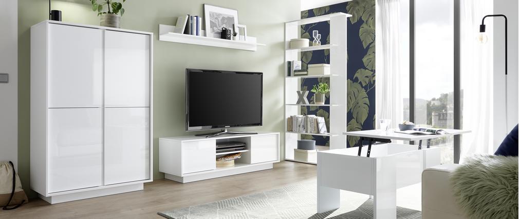 Meuble TV design L138 cm blanc laqué brillant COMO