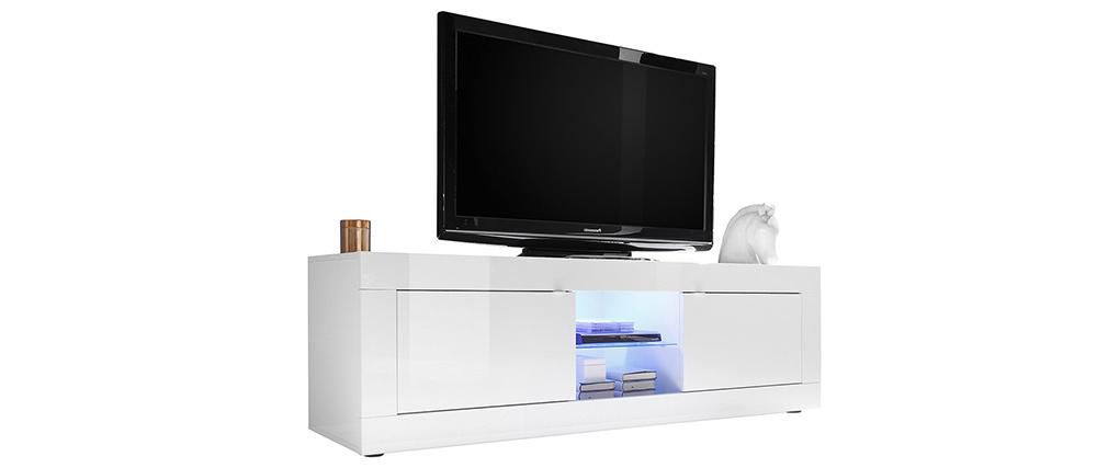 Meuble TV design laqué blanc 180 cm LATTE