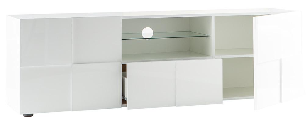Meuble TV design laqué blanc 180cm KUBE