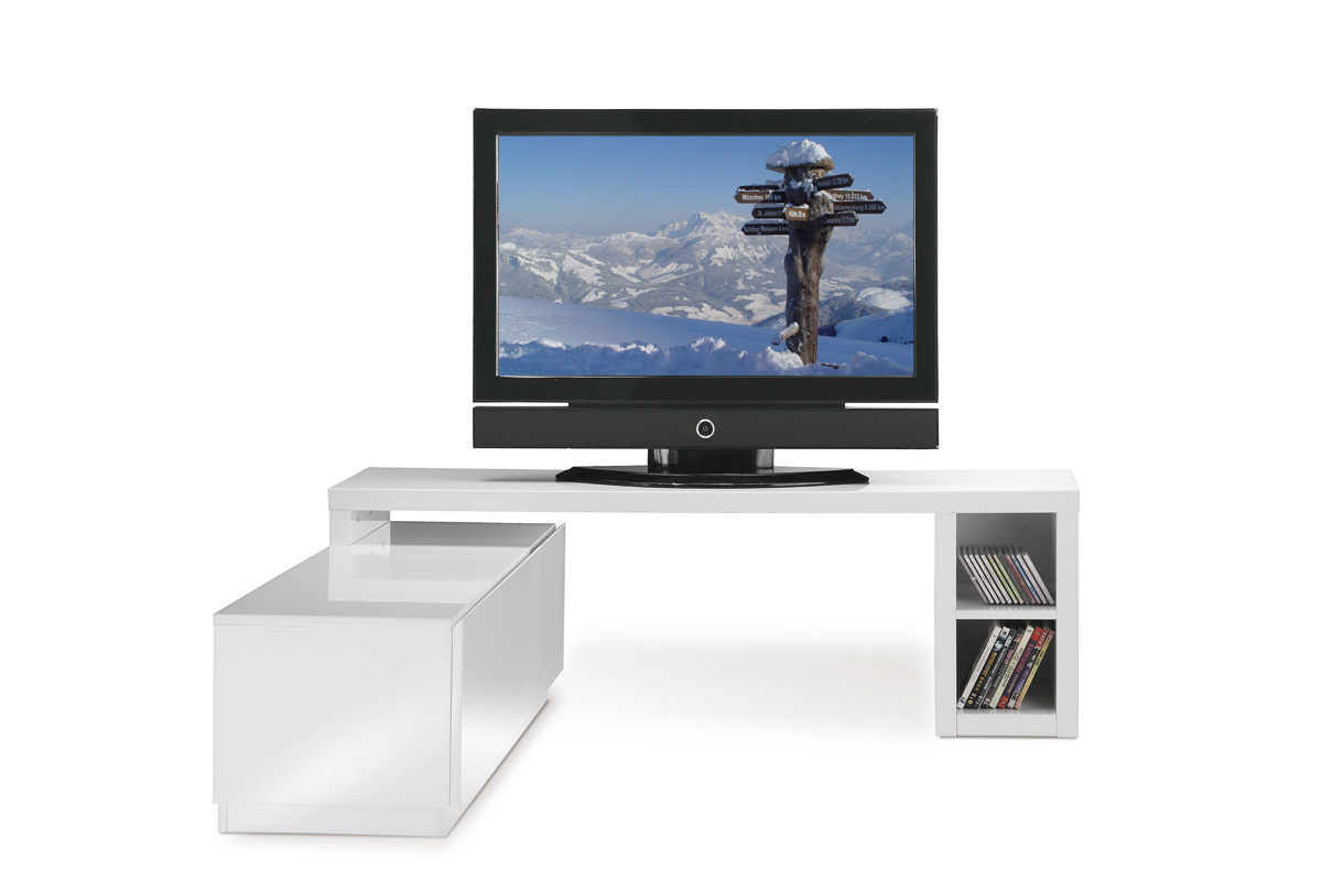meuble tv design laqu blanc amovible troye miliboo. Black Bedroom Furniture Sets. Home Design Ideas